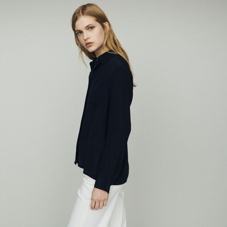 Silk shirt : Tops & Shirts color Navy