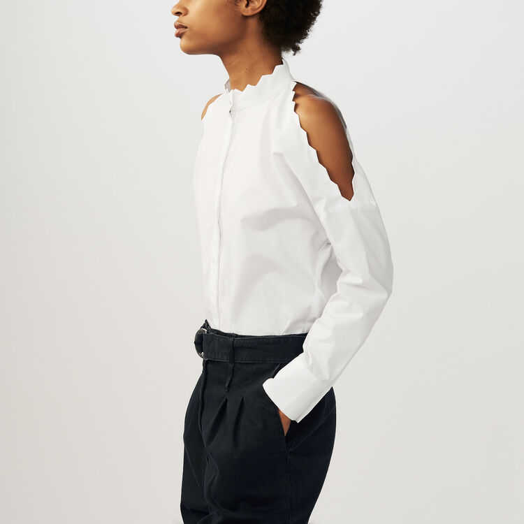 Bare shoulder cotton shirt : Shirts color WHITE