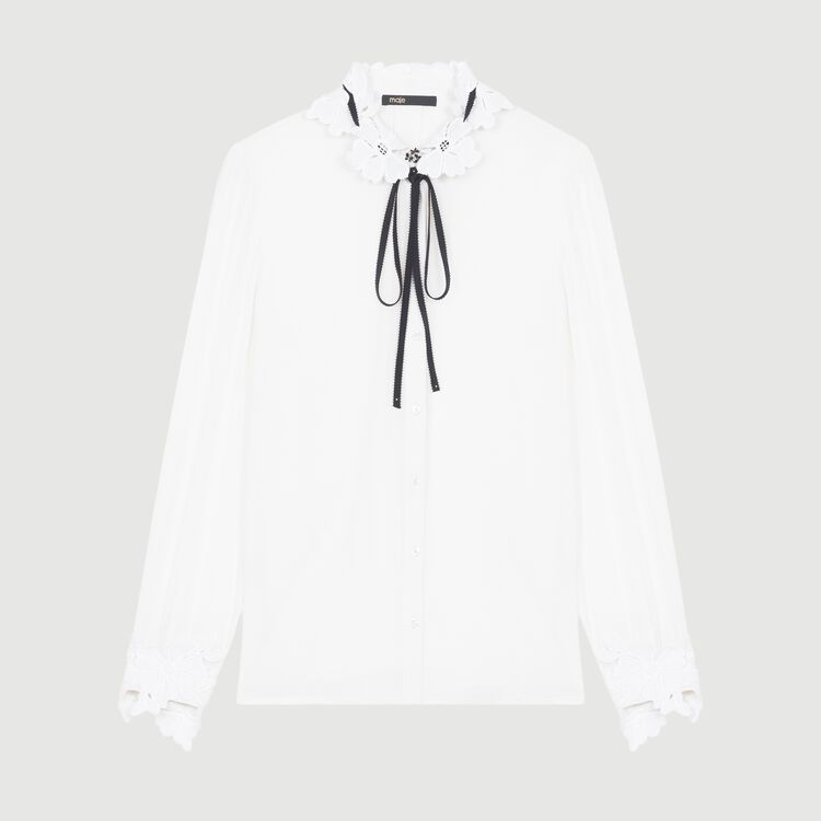 Blouse with guipure detailing : Ready to wear color White