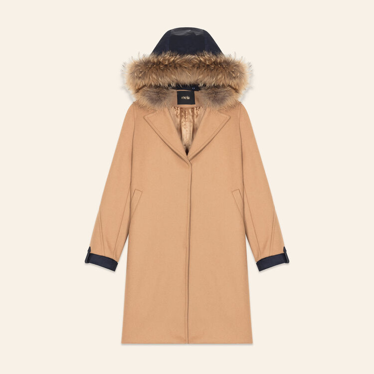 Long coat in wool and cashmere : Coats color Camel