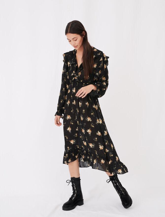 Printed jacquard dress with ruffles - Dresses - MAJE