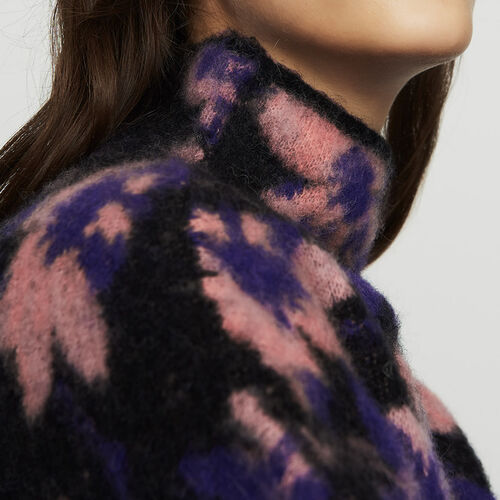 Printed sweater in wool blend : Knitwear color Multico