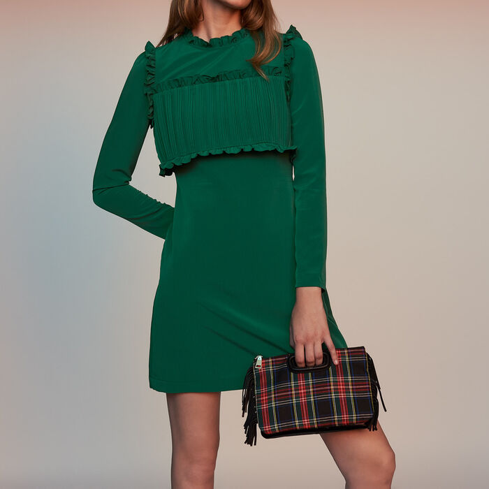 Straight dress with pleated bib : Ready to wear color Green