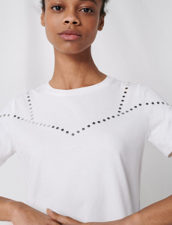 Studded white T-shirt -  - MAJE