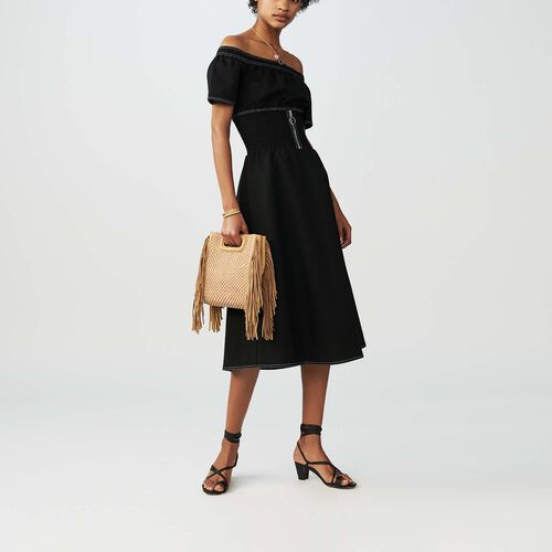 Midi dress with smocked waist : Dresses color Black 210