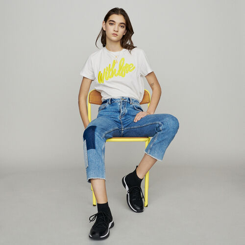 Straight-leg jeans with pieces : Jeans color Blue