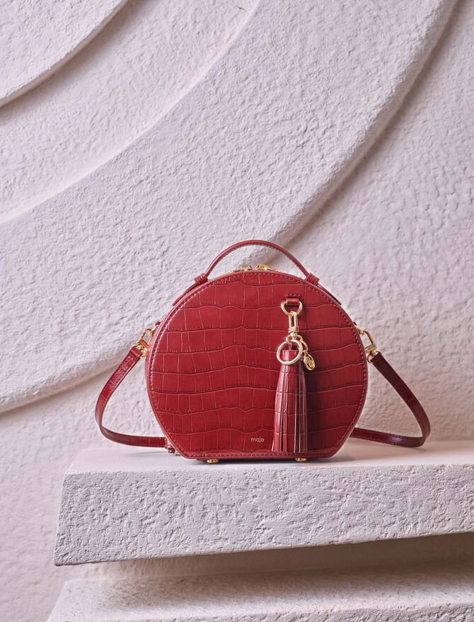 Hatbox bag in embossed leather -  - MAJE
