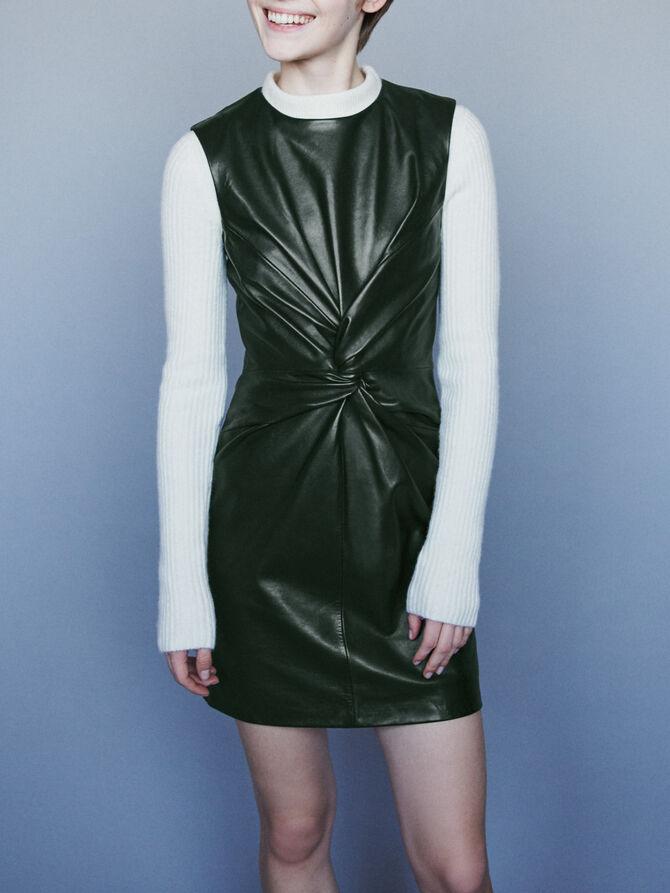 Sleeveless knotted leather dress - Dresses - MAJE