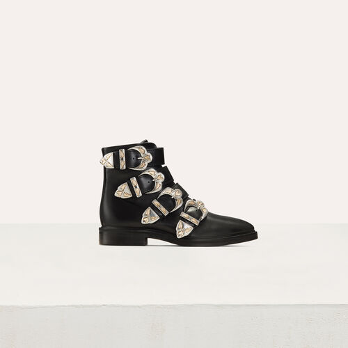 Multi-strap leather booties : New collection color Black 210