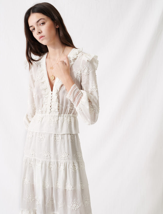 Ecru dress with ruffles and embroidery - Dresses - MAJE