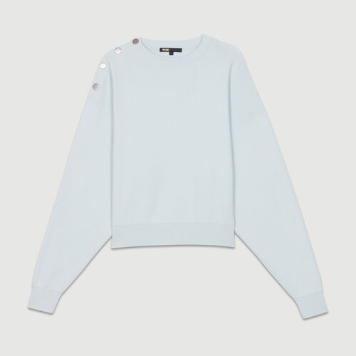 Shoulder-button sweater : Knitwear color BLUE/SKY BLUE