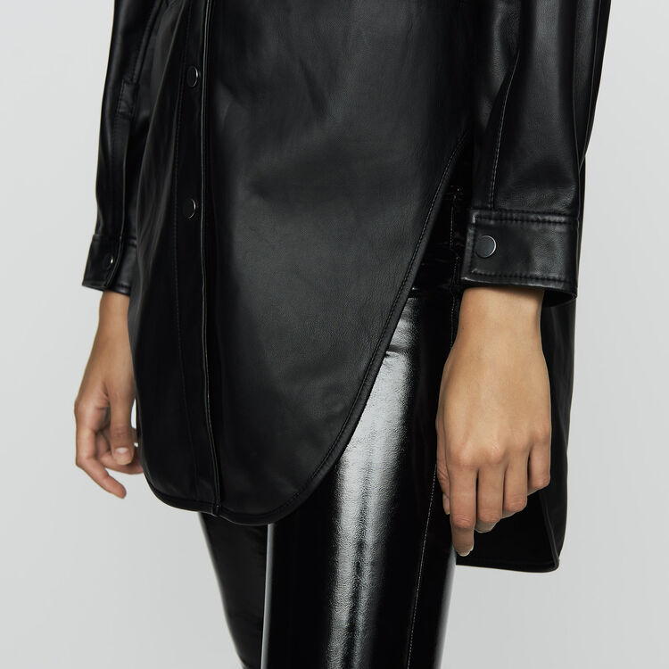 Long leather blouse : Ready to wear color BLACK
