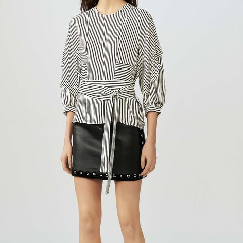 Belted stripe top : Tops color Stripe