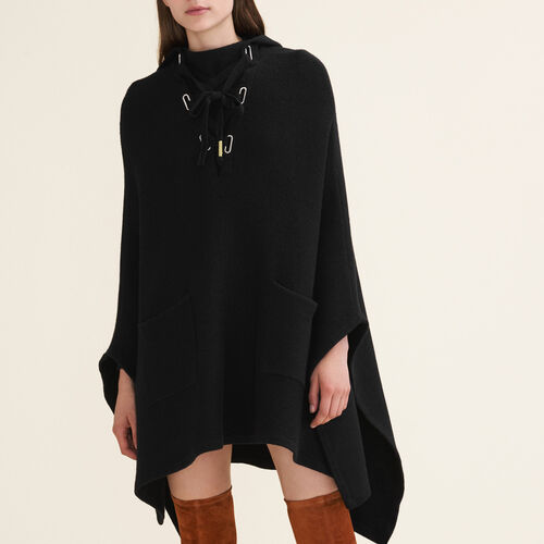 Tube-knit poncho cape : Knitwear color Black 210