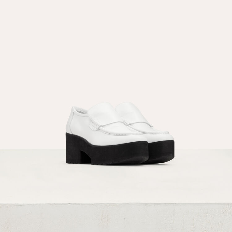 Leather platformloafers : Flat shoes color White