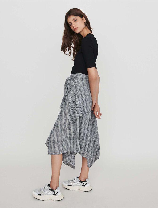 Trompe-l'oeil dress with scarf skirt - Dresses - MAJE