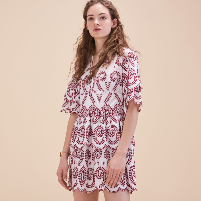 Embroidered dress with frills - Tout Voir - MAJE