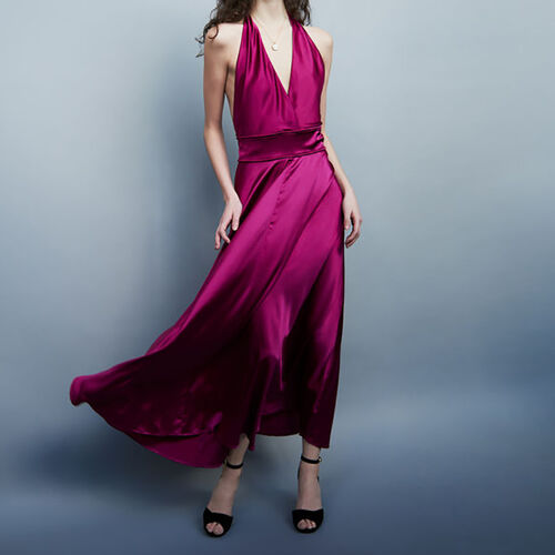 Long silk dress : Dresses color Fuschia