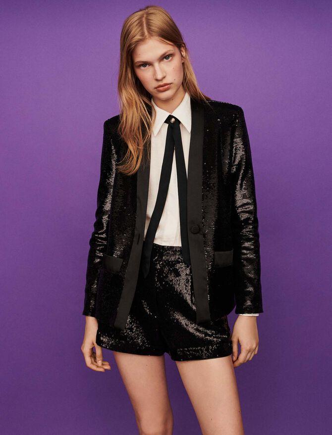 Sequin and satin jacket - Blazers - MAJE
