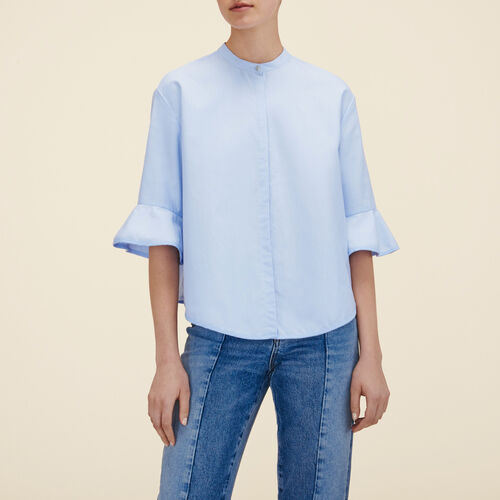 Striped poplin shirt  : Tops color Blue Sky