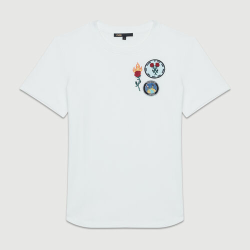 Cotton T-shirt with patch : Urban color White