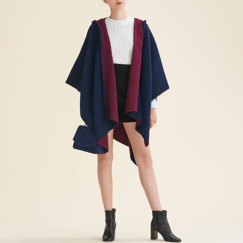 Reversible hooded poncho : Scarves color BORDEAUX