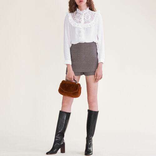 Blouse with lace insets on the chest - Shirts - MAJE