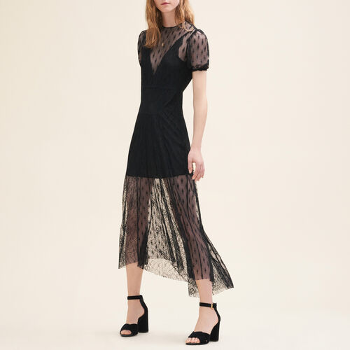 Long dress with embroidery and lace : Dresses color Black 210