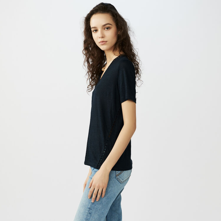 Linen top with crochet effect : T-Shirts color Navy