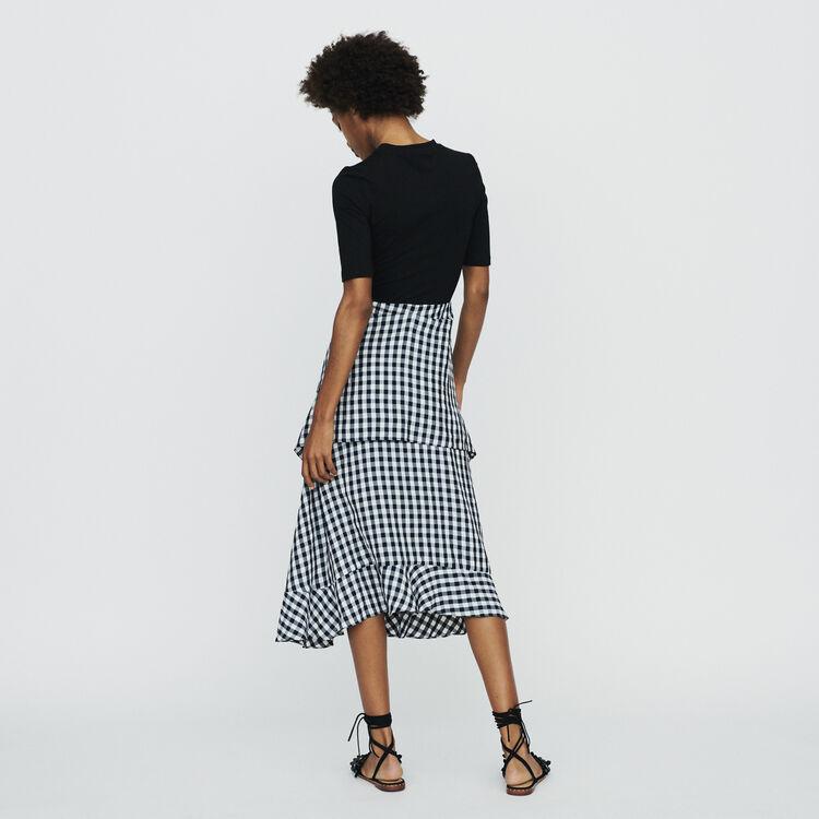 Bimaterial midi dress : Dresses color CARREAUX