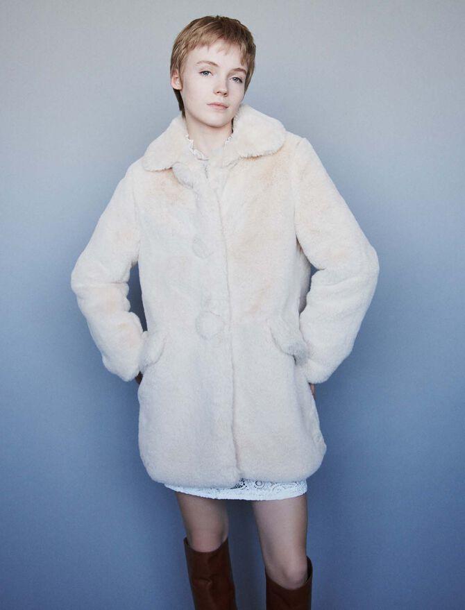 Faux fur coat - SoldesFR_Manteaux_blousons - MAJE