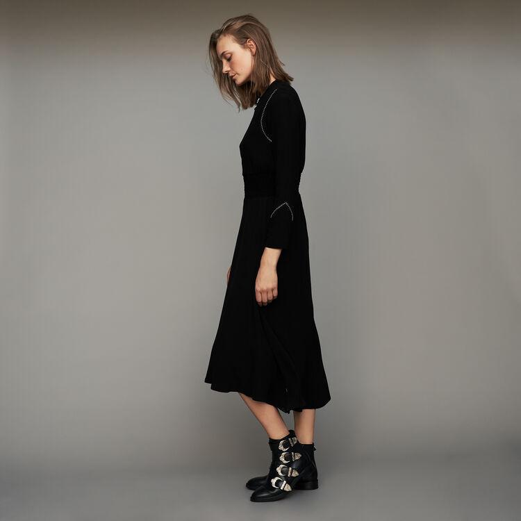 Long sleeve, studded dress : Dresses color Black 210