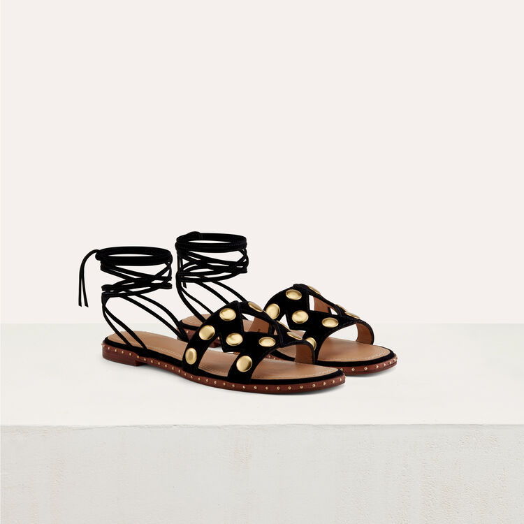 Flat sandals with studs : Shoes color Black 210