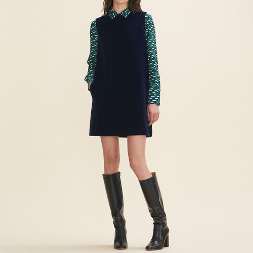 Velvet A-line dress : Dresses color Navy