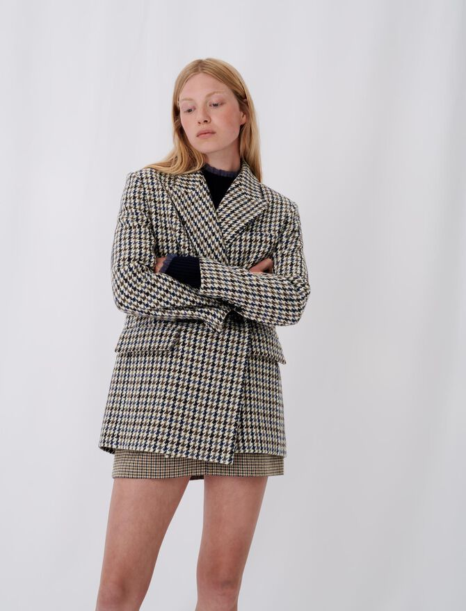 Checked blazer-style coat - tout voir - MAJE
