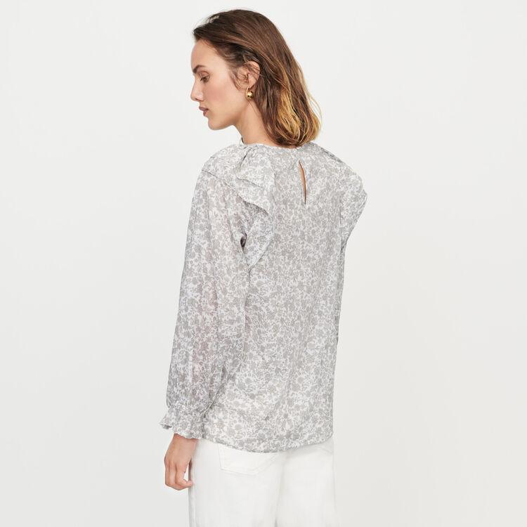 Floral-print ruffled top : Tops & Shirts color Grey