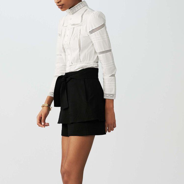 Linen-blend skort : Skirts & Shorts color Black 210