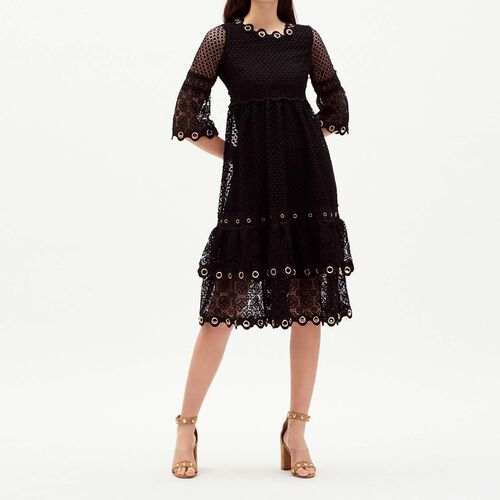 Long guipure lace dress : Dresses color Black 210