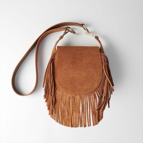Suede fringe Gyps handbag : Nouveautés Sacs color Cognac