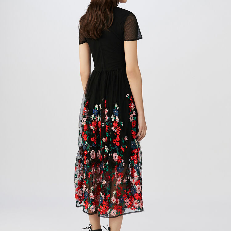 Maxi dress in embroidered tulle : Dresses color Black 210
