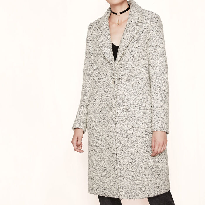 Long bouclé coat : Someone special color China Grey
