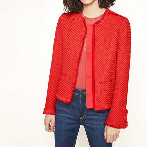 Fringed cropped jacket. : Blazers & Jackets color Red