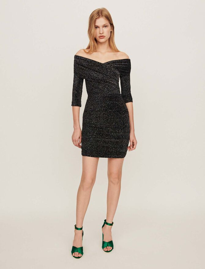 Stretch draped dress in Lurex - Dresses - MAJE