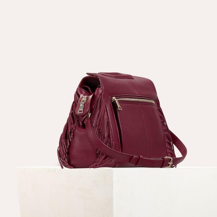 Leather shoulder bag : Burgundy color Burgundy