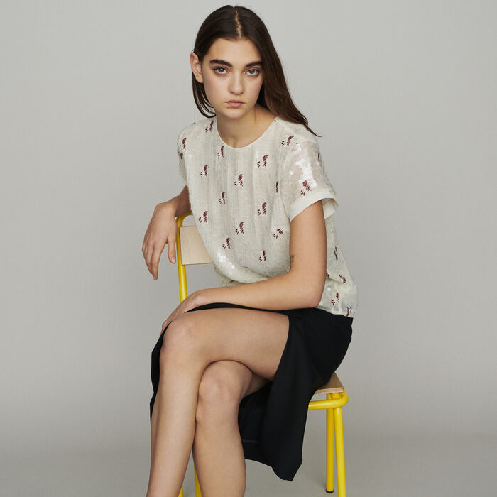 Top with sequin embroidery : Tops & Shirts color Ecru