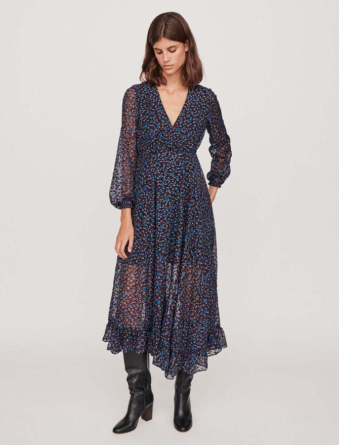 Long asymmetrical devore dress - Dresses - MAJE