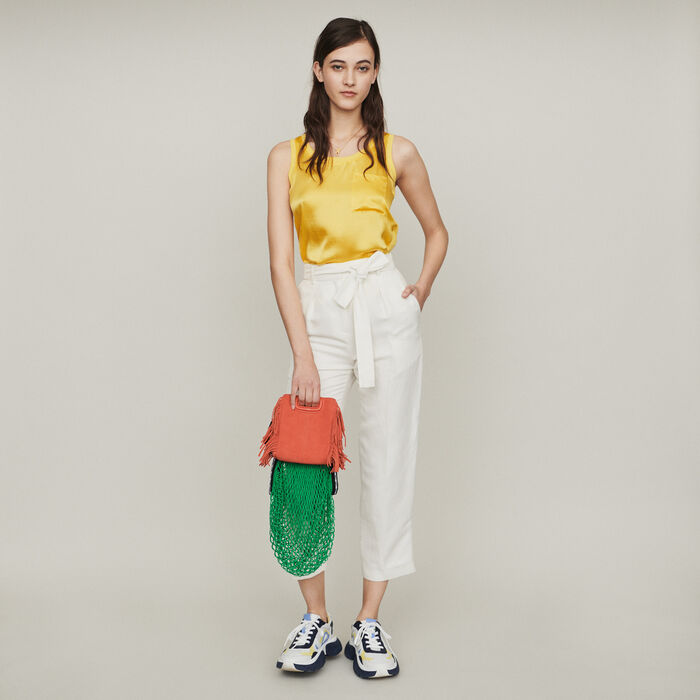 Loose tank in silk : T-Shirts color Yellow