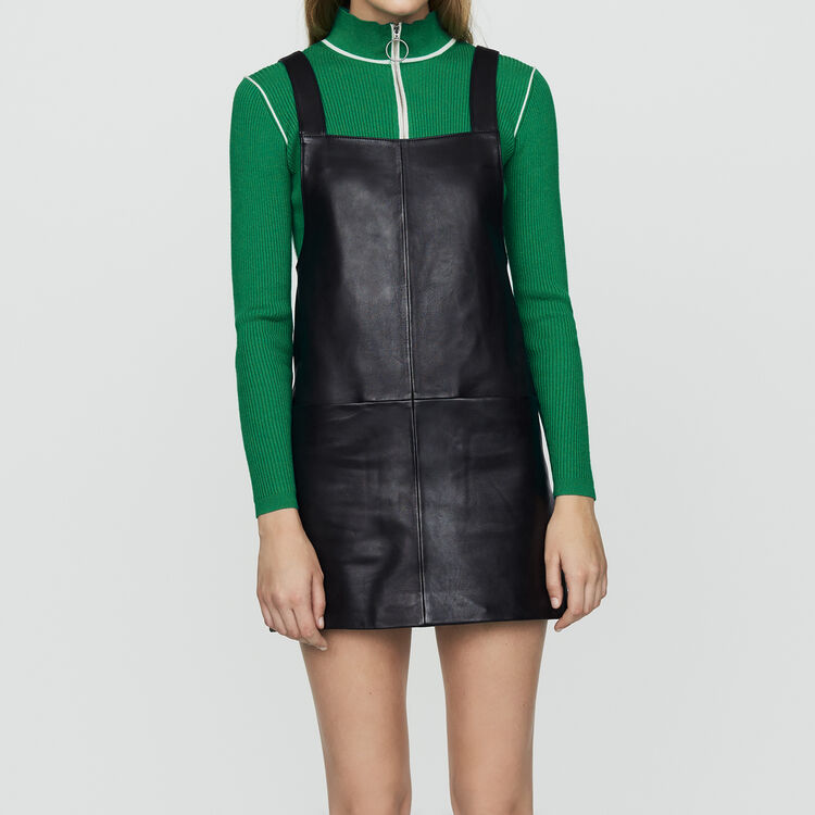 Leather tunic dress : New Collection color Black 210