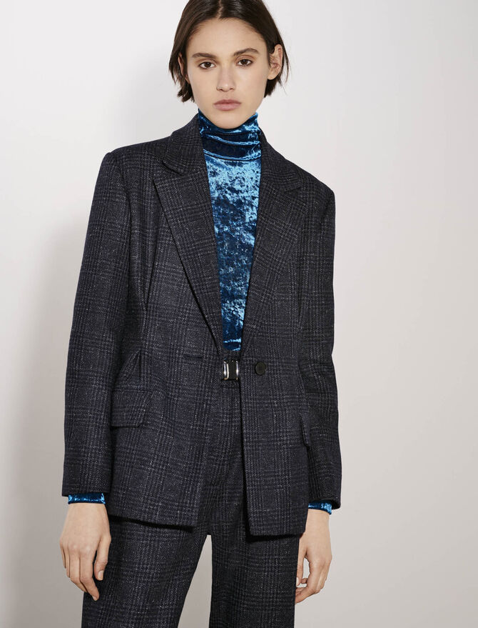Belted and fitted checked jacket - New collection - MAJE