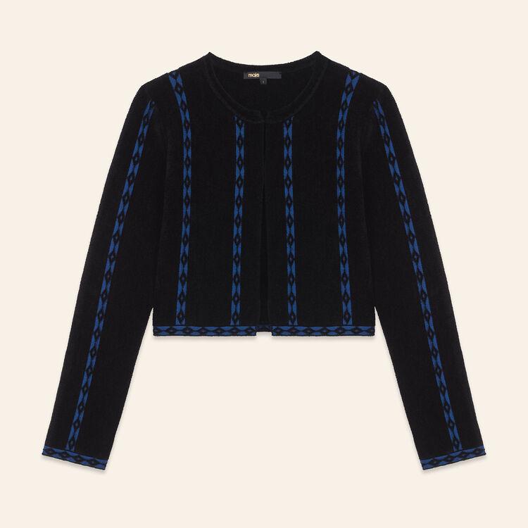 Short cardigan with braid trim : Sweaters & Cardigans color Black 210